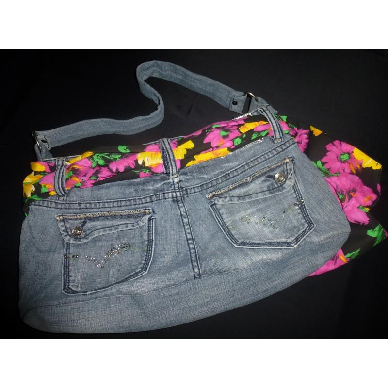 Sac a main en jean gris r alisation artisanale - Sac a main en jean ...
