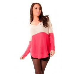 Pull bicolore  blanc et rose