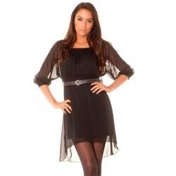 Robe tunique en voile noire