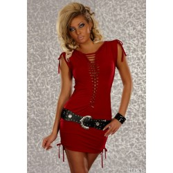 Robe  sexy a lacet rouge