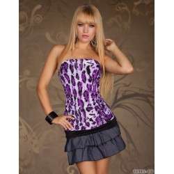 Bustier bandeau léopard violet