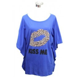 "Tee-shirt "" kiss me"" bleu"