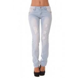 Jeans slim délavé et déco...