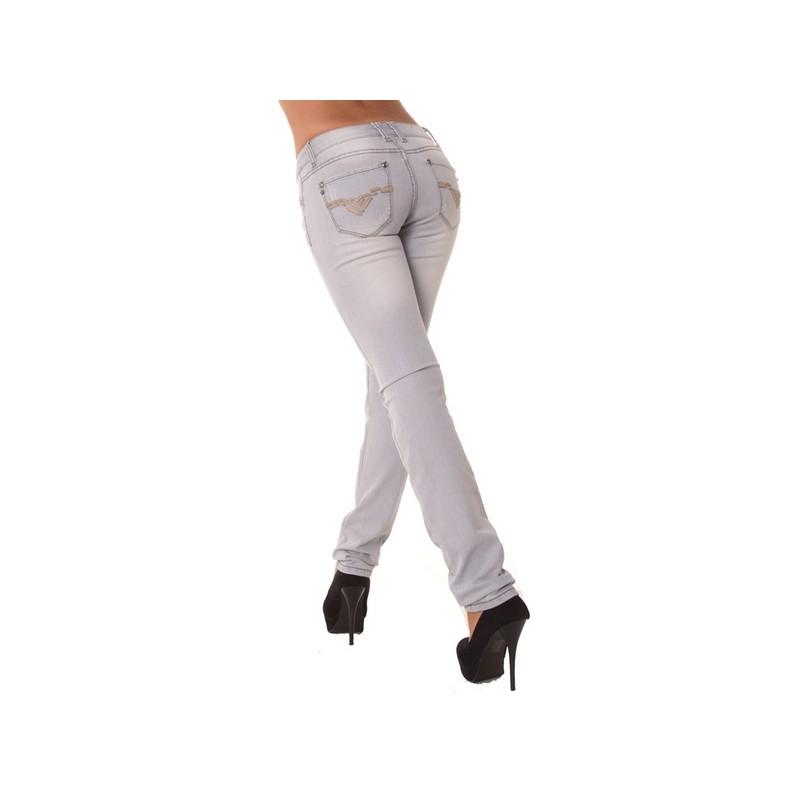 08d30f5fc77d Jean slim delavé gris motif en cuir aux poches