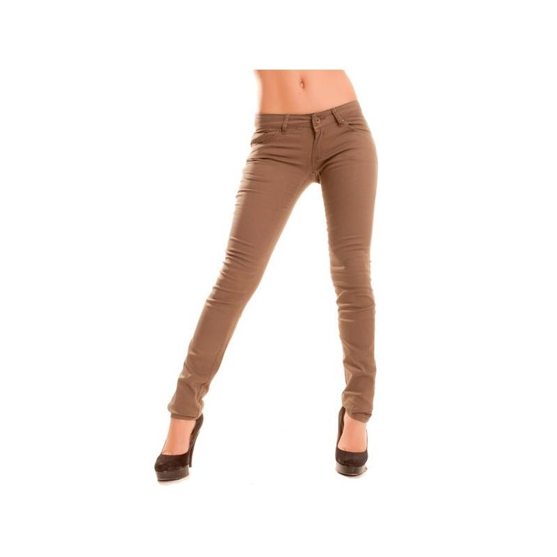 jeans slim marron pour femme taille basse. Black Bedroom Furniture Sets. Home Design Ideas